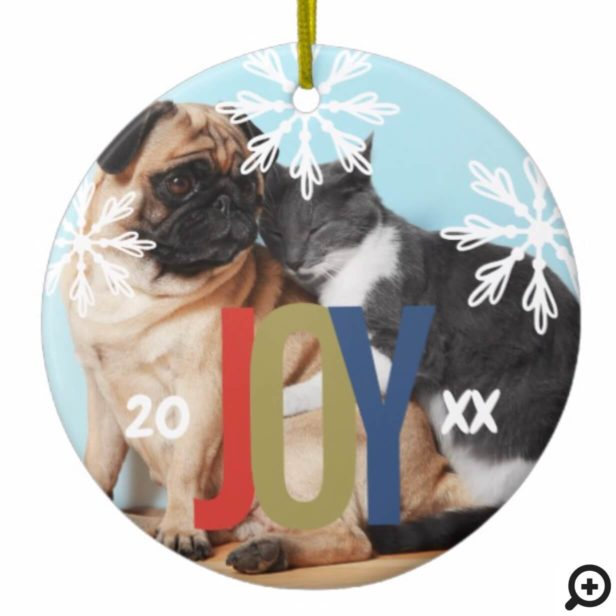 Fun Colourful Joy Snowflake Pet Photo Ceramic Ornament