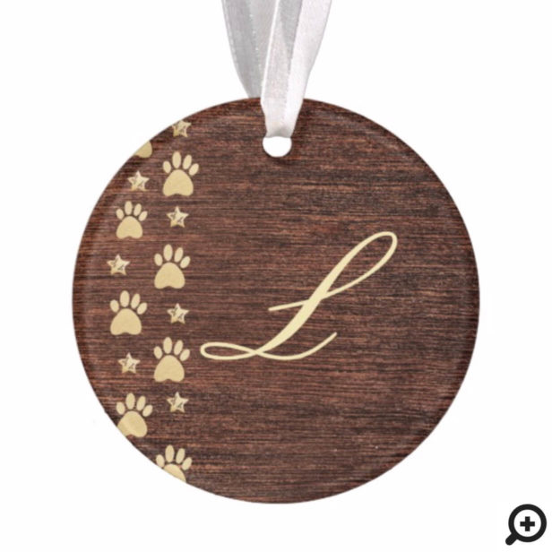Personalized Rustic Wood Gold Pet Paw Print Photo Ornament