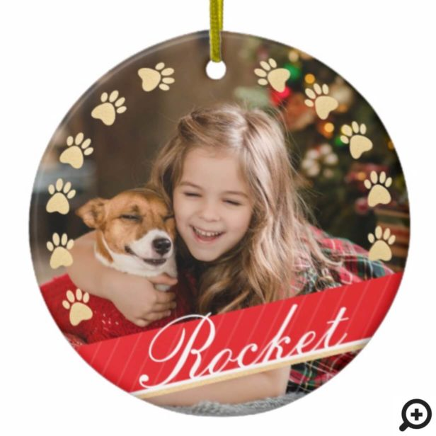 Personalized Gold Pet Paw Print & Red Ribbon Photo Ceramic Ornament