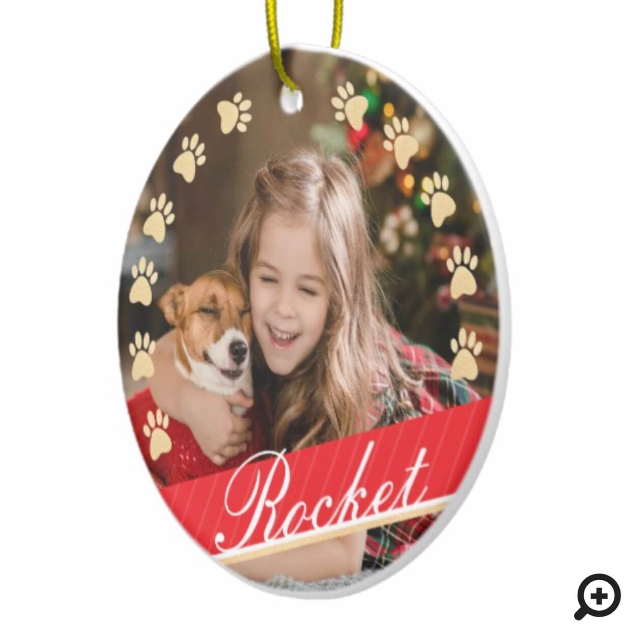 6838d57d744 Personalized Gold Pet Paw Print & Red Ribbon Photo Ceramic Ornament ...