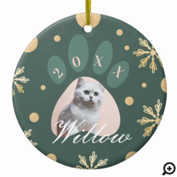 Green & Gold Pet Paw Print Photo & Snowflakes Ceramic Ornament