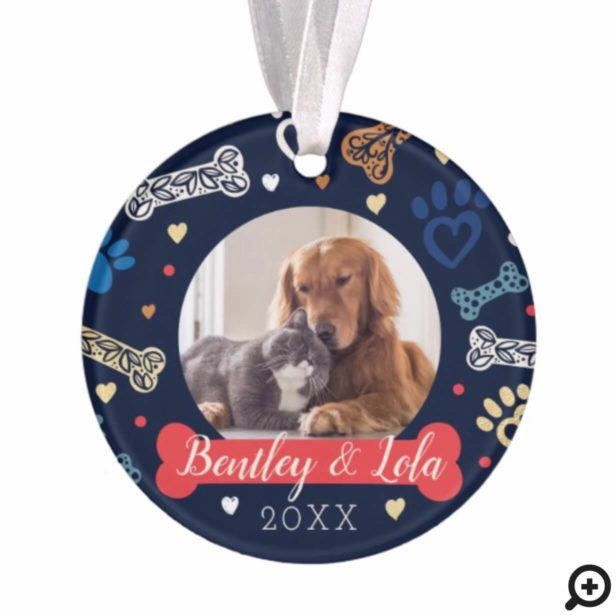 Paw Print & Bones Pattern | Animal Pet Photo Ornament