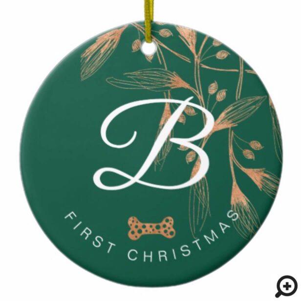 Elegant Copper Foliage First Christmas Pet Photo Ceramic Ornament