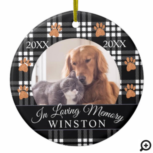 In Loving Memory | Black Plaid Pet Memorial Photo Ceramic Ornament