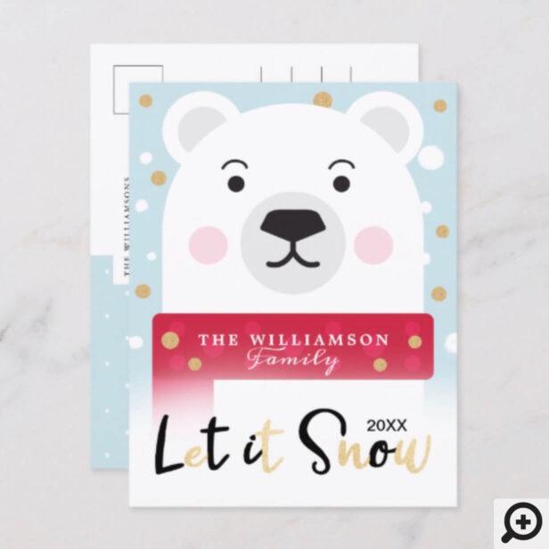 let it Snow | Cute Winter Polar Bear Holiday Postcard
