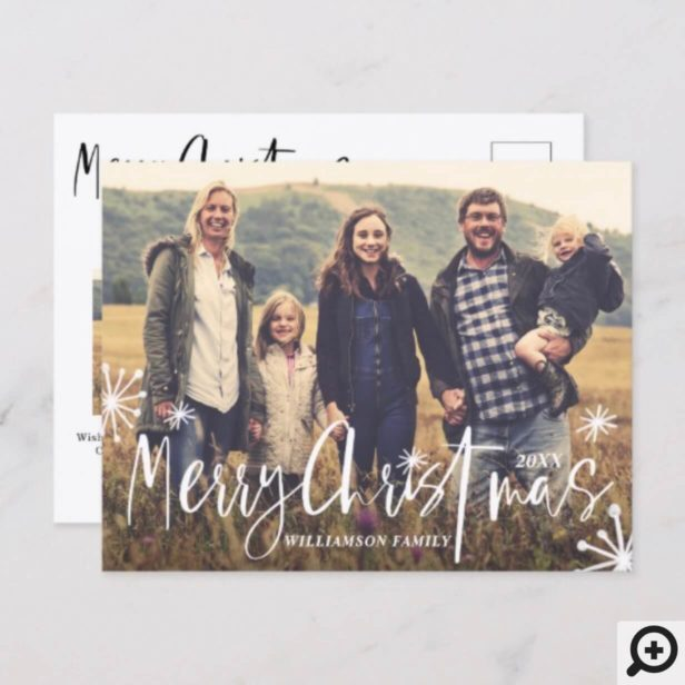 Merry Christmas | Stylish Script & Sparklers Photo Holiday Postcard