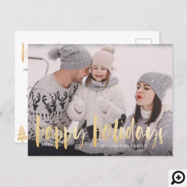 Happy Holidays | Christmas Tree Family Photo Holiday Postcard
