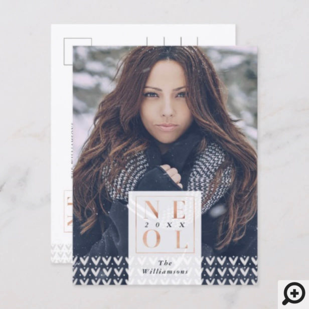 Noel Christmas | Modern Trendy Sweater Photo Holiday Postcard