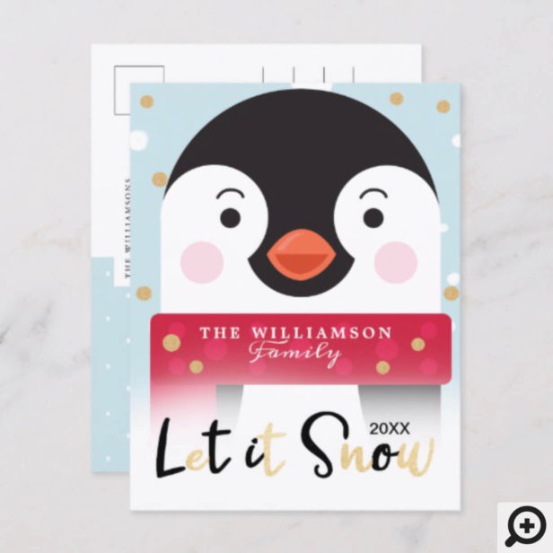 Let It Snow | Cute Winter Penguin Holiday Postcard