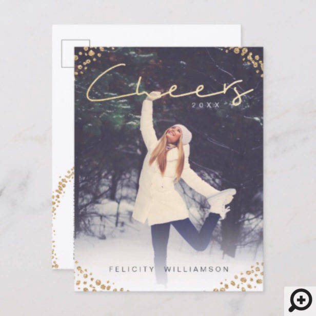 Cheers | Trendy Christmas Gold Sparkle Photo Holiday Postcard