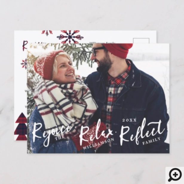 Rejoice, Relax, Reflect | Brush Script Plaid Holiday Postcard