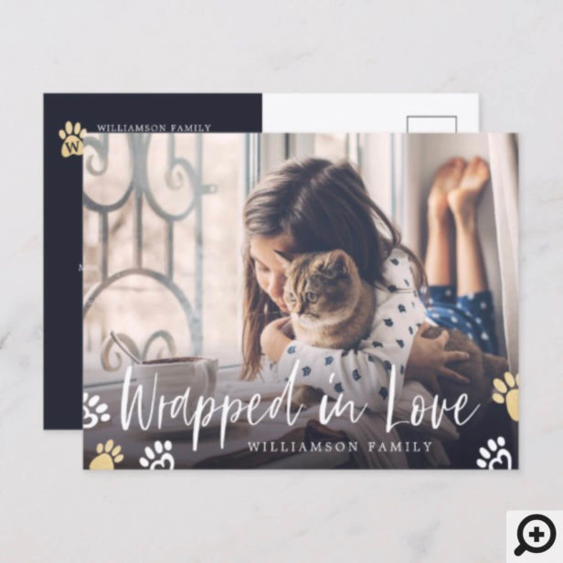 Wrapped In Love | Pet Paw Print Animal Photo Holiday Postcard