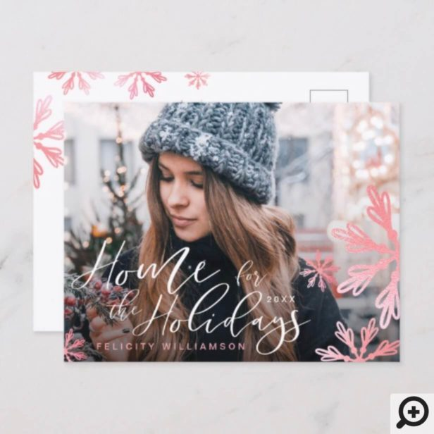 Home For The Holidays Classy Pink Snowflakes Photo Holiday Postcard