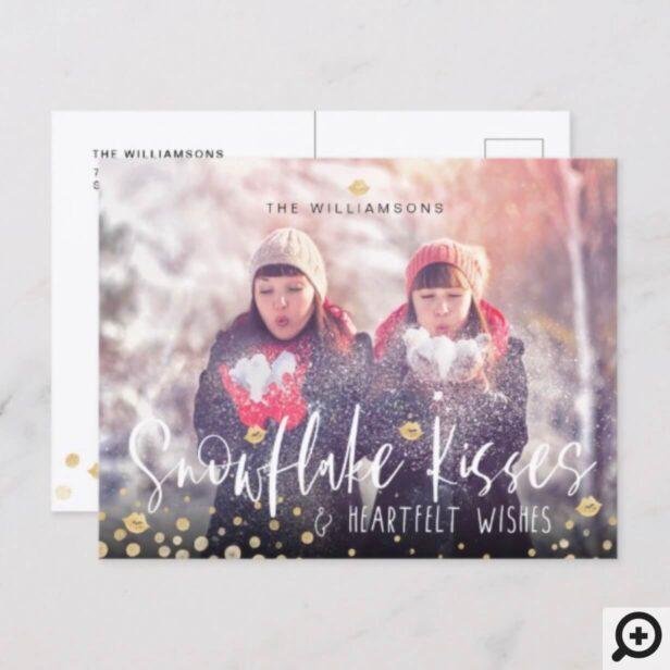 Snowflake Kisses & Heartfelt Wishes | Family Photo Holiday Postcard