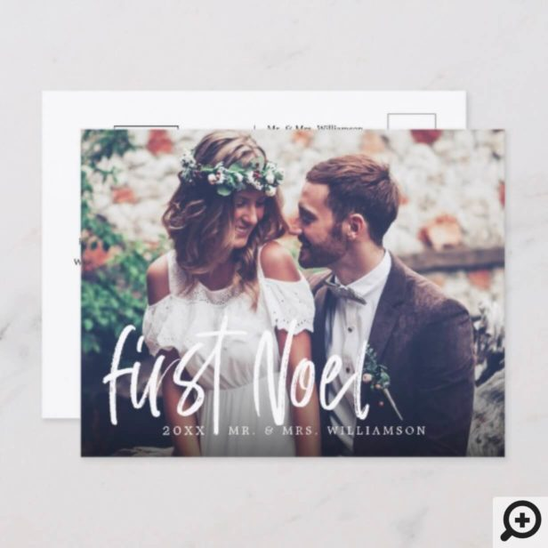 First Noel Newlyweds Mr & Mrs 1st Christmas Photo Holiday Postcard
