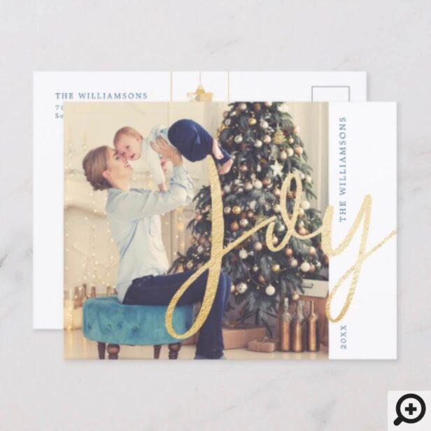 Joy | Classy, Minimal Christmas Ornaments Photo Holiday Postcard