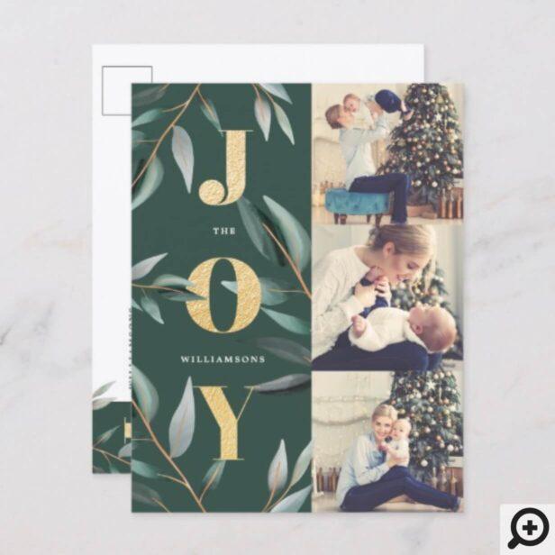 Joy | Elegant Modern Christmas Foliage Photo Holiday Postcard