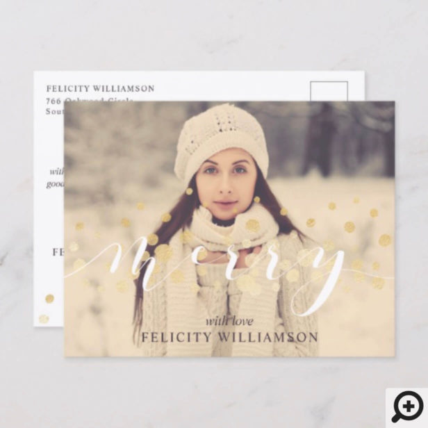 Merry Elegant Sparkle Gold Confetti Snow Photo Holiday Postcard