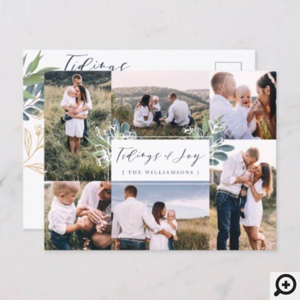 Tidings of Joy | Watercolor Foliage Photo Collage Announcement Postcard