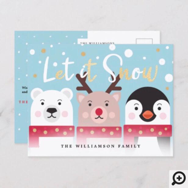 Let It Snow | Cute Reindeer, Polar Bear & Penguin Holiday Postcard