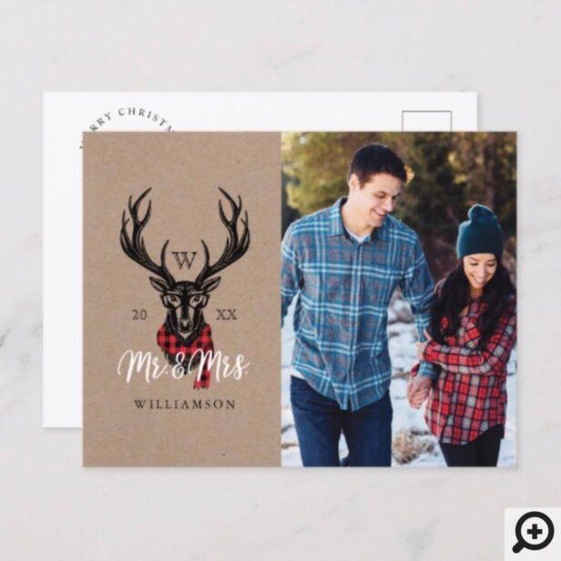 Cozy & Warm | Red Buffalo Plaid Reindeer Monogram Holiday Postcard