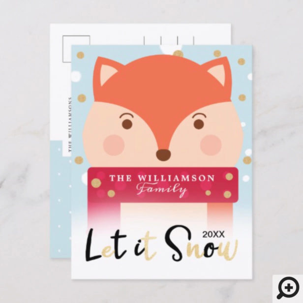 let it Snow | Cute Winter Woodland Fox Holiday Postcard