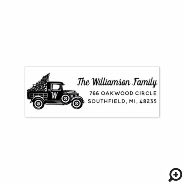 Vintage Truck Christmas Tree Monogram Address Rubber Stamp