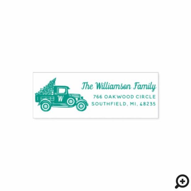 Vintage Truck Christmas Tree Monogram Address Self-inking Stamp