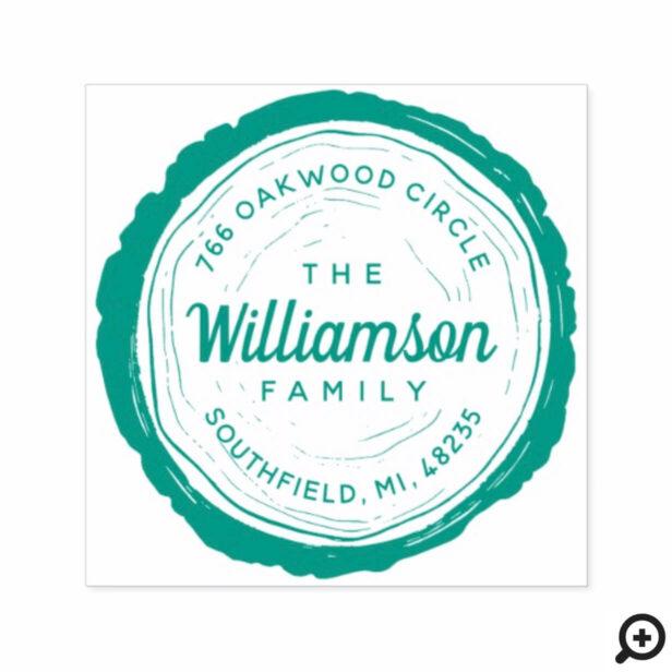 Vintage Rustic Woodgrain Tree Slice Family Address Self-inking Stamp