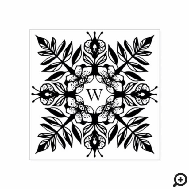 Elegant Leaf Foliage Snowflake Pattern Monogram Rubber Stamp