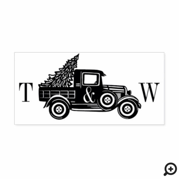 Vintage pickup Truck & Christmas Tree initials Rubber Stamp