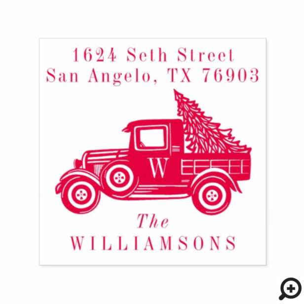 Vintage Truck & Christmas Tree Monogram Address Self-inking Stamp