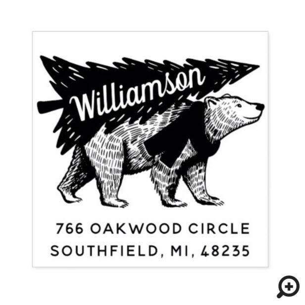 Vintage Style Polar Bear Tree Delivery Address Rubber Stamp