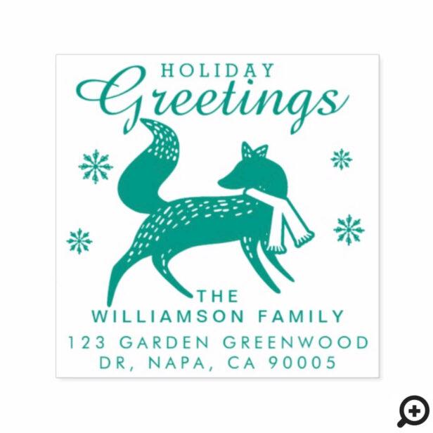 Holiday Greetings | Woodland Christmas Fox Address Self-inking Stamp