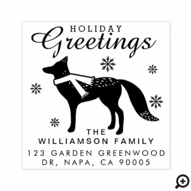 Holiday Greetings | Woodland Christmas Fox Address Rubber Stamp