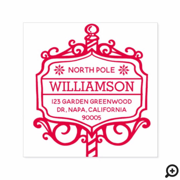 North Pole Sign Post Family Christmas Address Self-inking Stamp
