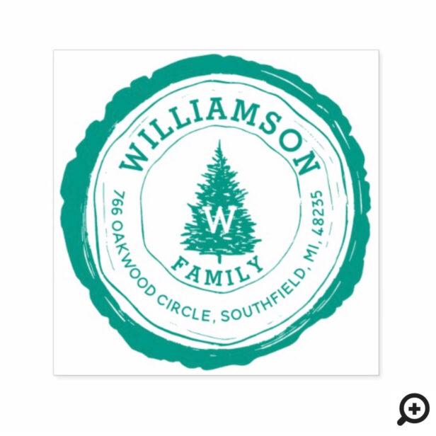 Vintage Rustic Woodgrain Pine Tree Family Address Self-inking Stamp