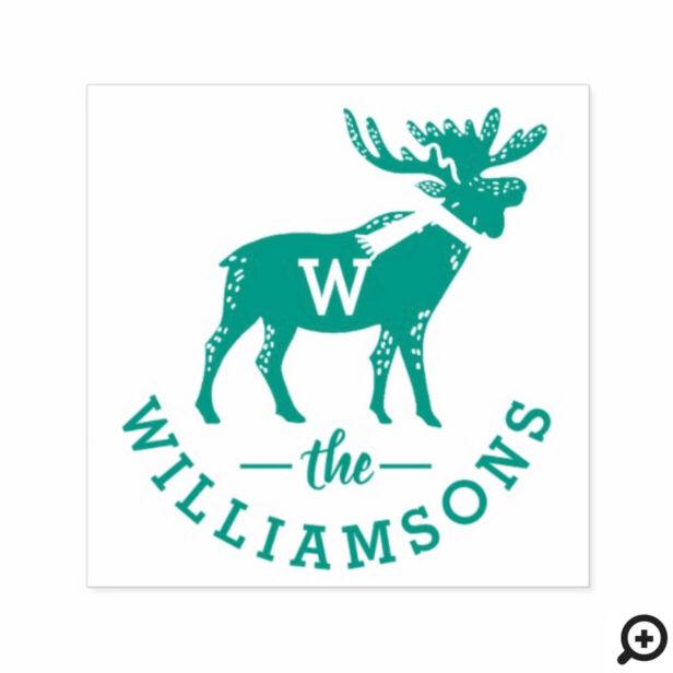 Festive Winter Moose Monogram Family Christmas Self-inking Stamp