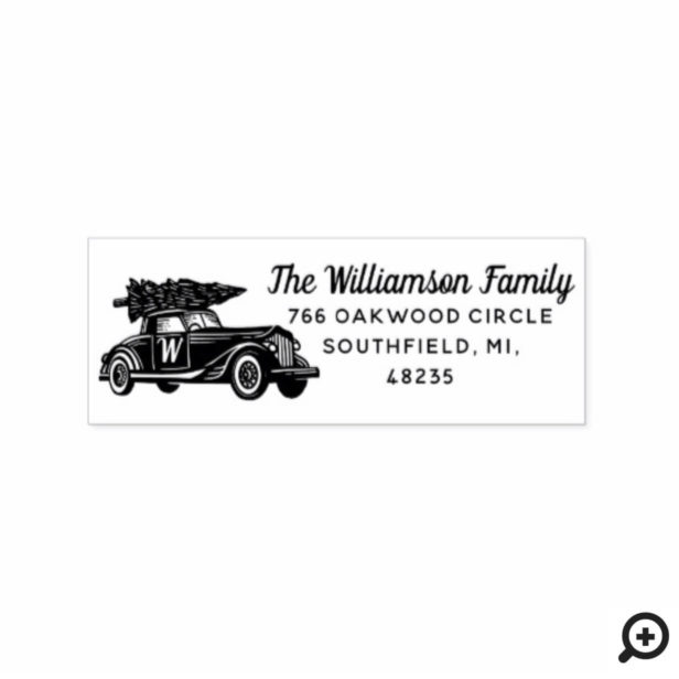 Vintage Car Christmas Tree Monogram Address Rubber Stamp