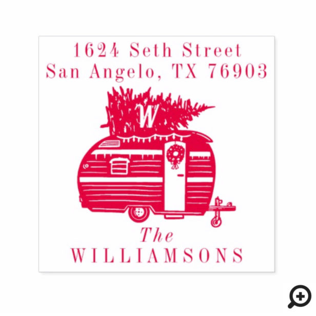Vintage Camper Christmas Tree Monogram Address Self-inking Stamp
