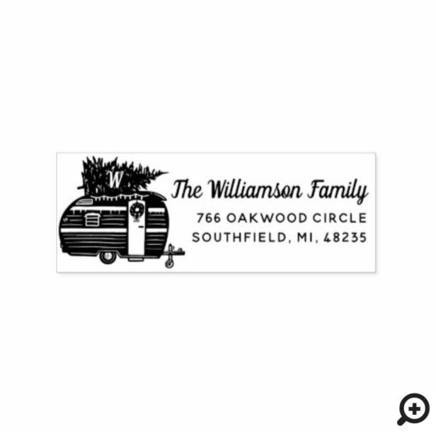 Vintage Camper Christmas Tree Monogram Address Rubber Stamp