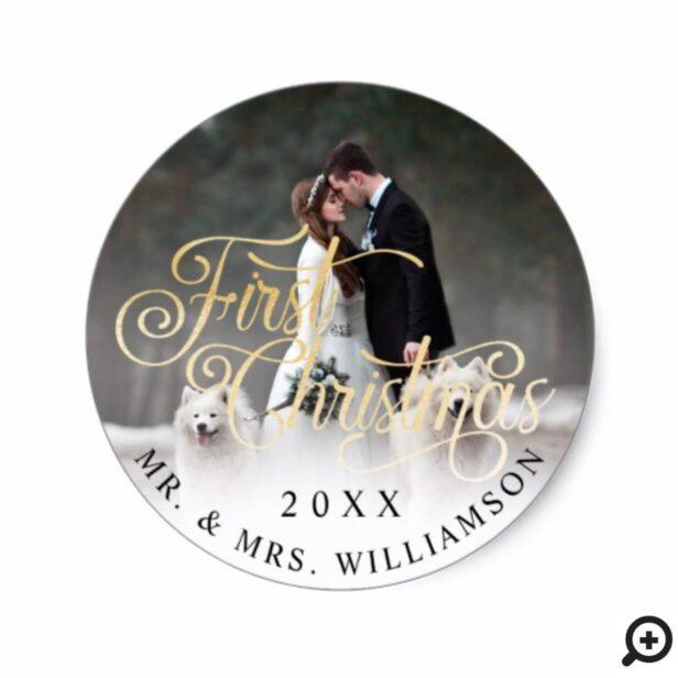 Elegant Black Gold Mr & Mrs First Christmas Photo Classic Round Sticker