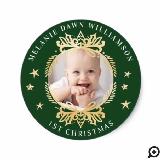 Ornate Green & Gold Crest   Baby's First Christmas Classic Round Sticker