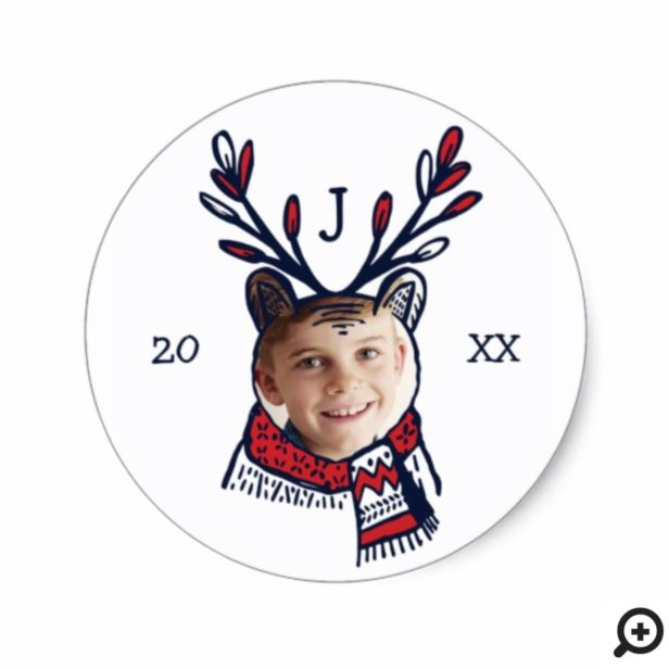 Fun Festive Red Plaid Polar Bear Character Photo Classic Round Sticker