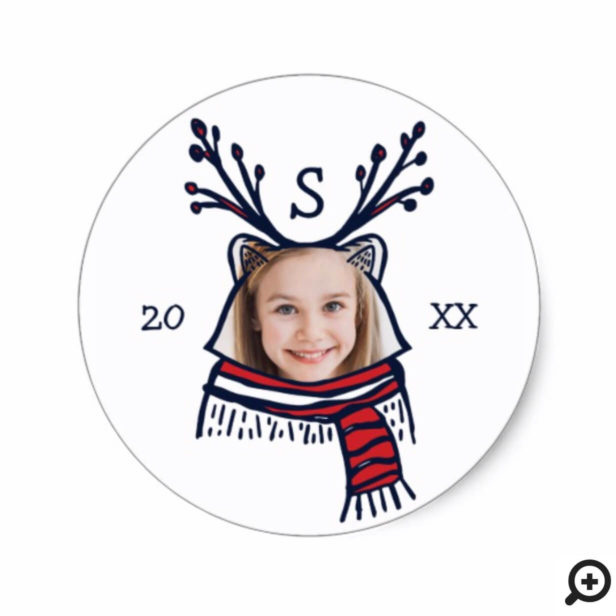 Fun Festive Red Plaid Raccoon Character Photo Classic Round Sticker