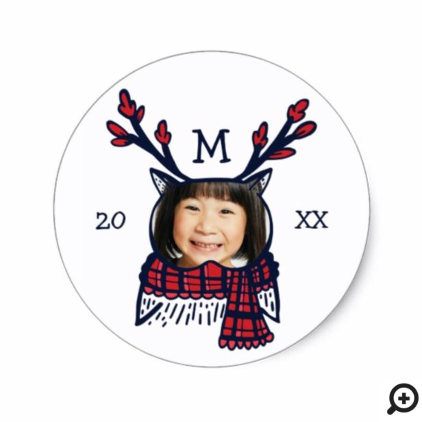 Fun, Festive Red Plaid Winter Owl Character Photo Classic Round Sticker