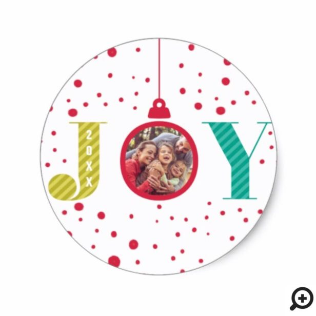 Modern & Colorful Joy Red Ornament | Holiday Photo Classic Round Sticker