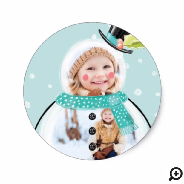 Cute Christmas Holiday Jolly Snowman Photos Classic Round Sticker