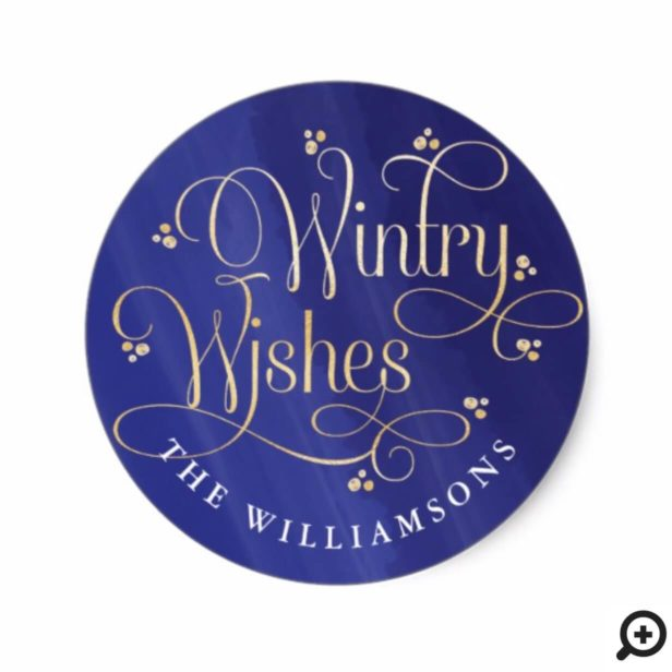 Elegant Wintry Wishes | Purple & Gold Typography Classic Round Sticker
