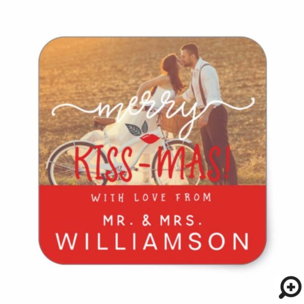 Red Merry Kiss-Mas Vintage Holiday Mr & Mrs Photo Square Sticker
